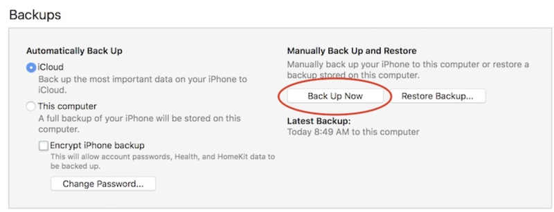 Press Backup Now - Making a backup in iTunes